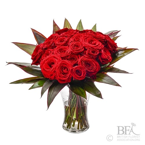 Glass Vase 24 Red Roses Arrangement