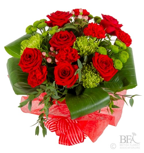 Medium Red & Lime Blooming Hand Tied Bouquet