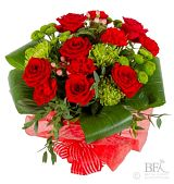 Large Red & Lime Blooming Hand Tied Bouquet