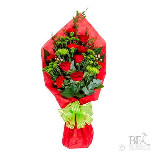 Large Bright Red & Lime Hand Tied Arrangement