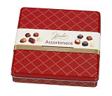 Assorted Belgian Chocolates in Red Chesterfield Style Tin