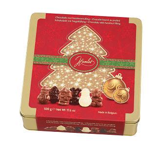 Praline filled milk chocolate Winter assortment in Christmas tin