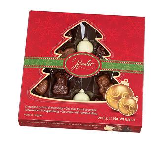 Praline Filled Milk Chocolate Winter Assortment in Tree Window Box
