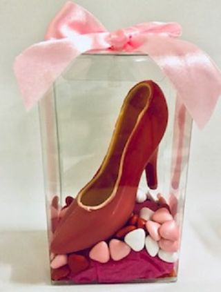 Red Chocolate Shoe With Small Hearts