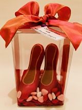 Red Chocolate Shoes With Small Hearts