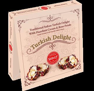 Servet Traditional Sultan Turkish Delight with Hazelnut Cream and Rose Petals