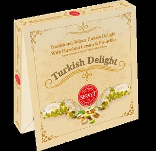 Servet Traditional Sultan Turkish Delight with Hazelnut Cream and Pistachio