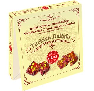 Servet Traditional Sultan Turkish Delight with Hazelnut Cream and Barberry