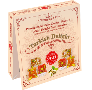 Servet Pomegranate, Plain, Orange Flavored Turkish Delight With Pistachio