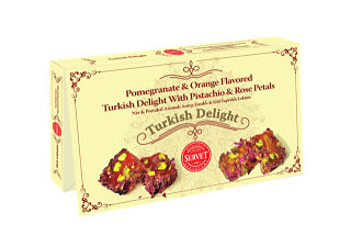 A Servet Pomegranate and Orange Flavored Turkish Delight With Pistachio and Rose Petals