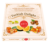 Authentic Servet Orange Turkish Delight with Pistachio and Hazelnut