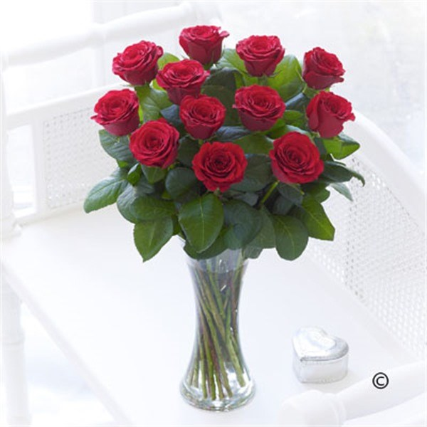 Elegant Red Roses Vase Arrangement