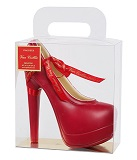 Red Milk Chocolate High Shoe in Transparent Handbag