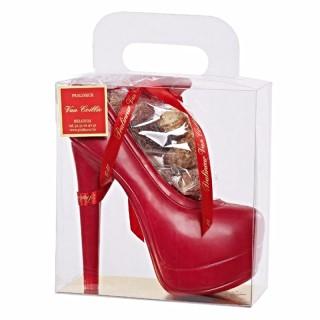Milk chocolate shoe with red platform in transparent handbag