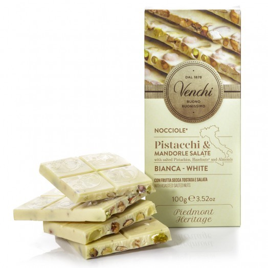 Venchi Salted Pistachio, Almonds & Hazelnut White Chocolate Bar