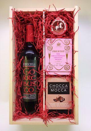 Valentine's Wine & Chocolates Wooden Box