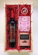Valentine's Wine & Chocolates Wooden Box