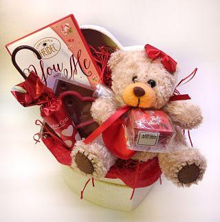 Valentine's Hamper in Heart Shaped Box