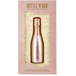 Bottle 'N' Bar - Sparkling Rose & Luxury White Chocolate Bar