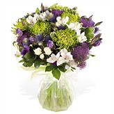 Purple and Lime Hand-tied Arrangement