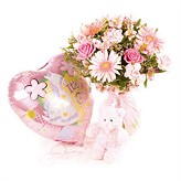 Baby Pink Floral Hand-tied Bouquet, Balloon and Teddy Bear