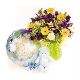 Baby Boy Hand-tied Flower Arrangement, Balloon and Teddy Bear