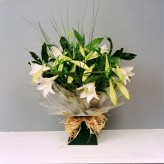 Hand-Tied Arrangement of Ivory Lily Trumpets