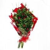 Red Satin Open Style Bouquet of Red Roses