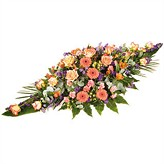 Peach and Orange Funeral Casket Spray