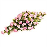 Funeral Casket Spray in Pink Flowers