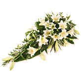 White Lily Funeral Casket Spray