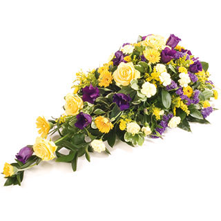 Blue and Yellow Funeral Spray