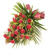 Passion Red Roses Tied Funeral Sheaf