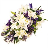 Blue and White  Tied Funeral Sheaf of Flowers