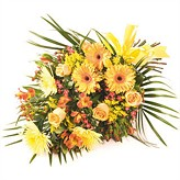 Gold Tied Funeral Sheaf  of Warm Glowing Flowers