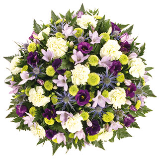 Blue and Lime Funeral Posy Arrangement