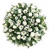 Funeral Posy Pad Arranged in White Flowers