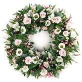 Funeral Wreath Of Pale Pink and Cream Flowers