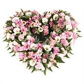 Pink Funeral Open Heart Arrangement