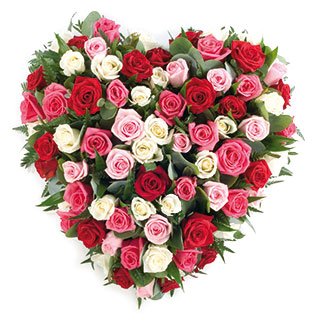 Solid heart with mixed roses arrangement delivered by the harvest garden loca - Idee bouquet de fleur ...