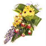 Modern Tied Funeral Sheaf Of Flowers