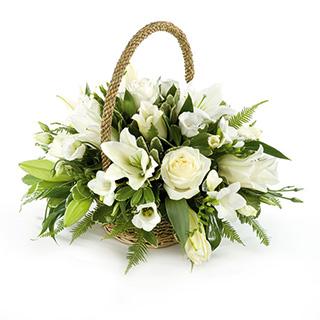 Cream and Ivory Wicker Basket Arrangement