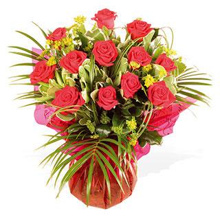 Seduction - Hand-tied Arrangement of  Twelve Red Roses