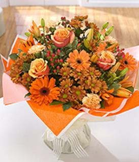 Warm Orange Hand Tied Arrangement