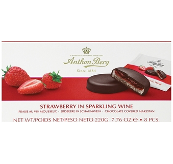 Anthon Berg Strawberry in Champagne Chocolate Marzipan Discs