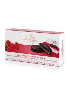 Anthon Berg Raspberry in Orange Liqueur Chocolate Marzipan Discs dated 17/06/18