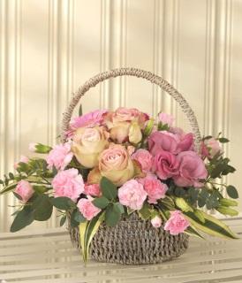 Pink flower basket arrangement wicker basket arrangement baske pink flower basket arrangement mightylinksfo