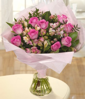 Subtle Pink Hand-tied Flower Arrangement