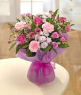Pink and Lilac Hand-tied Flower Arrangement