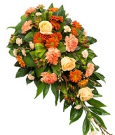 Apricot and Orange Funeral Arrangement